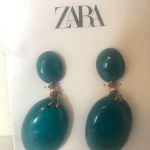 Zara Green Earrings. Clip Ons. NEW